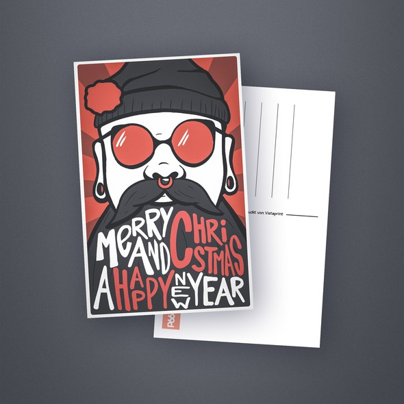 Beard illustration with the title 'Christmas Postcard'