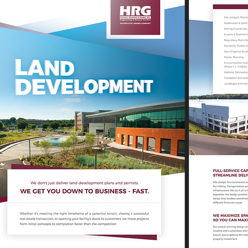 A4 design with the title 'Corporate flyer design - land development'