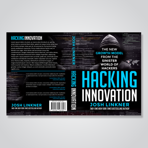 Bestseller book cover with the title 'Book Cover Design for Hacking Inovation'