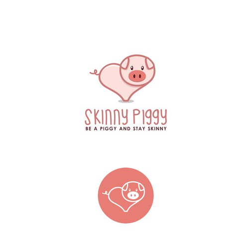 Healthy eating logo with the title 'Skinny Piggy'