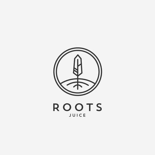 Juice logo with the title 'Organic design for Roots Juice bar.'