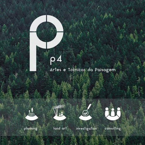 "Portuguese logo with the title 'Logo for the Landscape Architecture Studio ""P4""'"