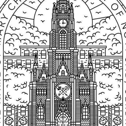 Historical design with the title 'The Name Of Mary Church'