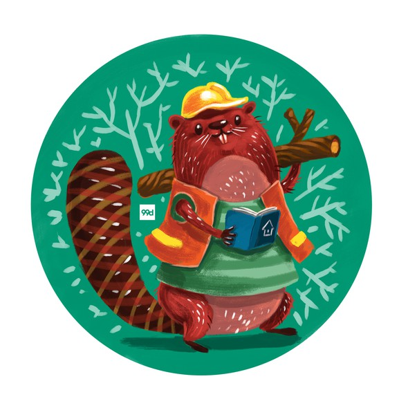 Sticker illustration with the title 'Beaver The Builder'