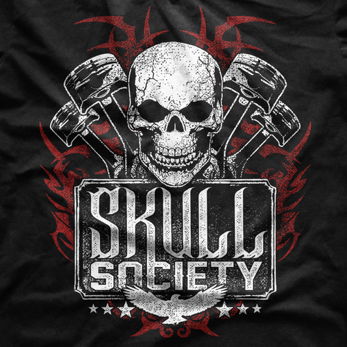 Motor design with the title 'Skull Society Biker Club T-Shirt'