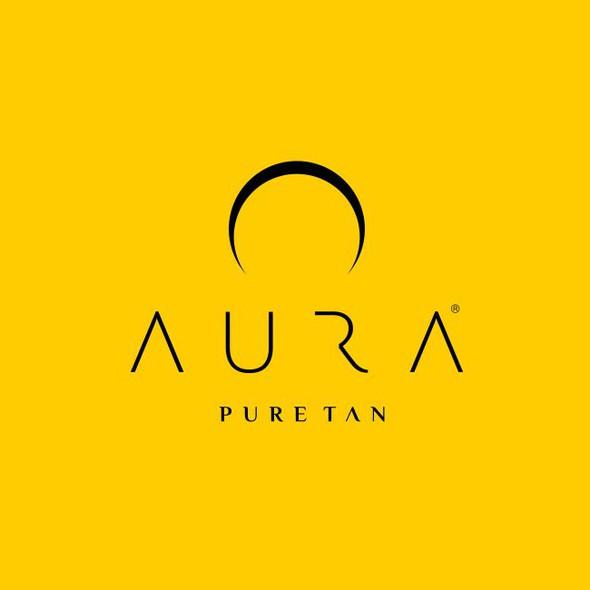 Aura logo with the title 'Elegant, slim logo for tanning cream.'
