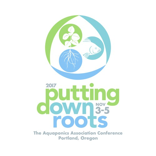 Aquaponics logo with the title 'Putting Down Roots'
