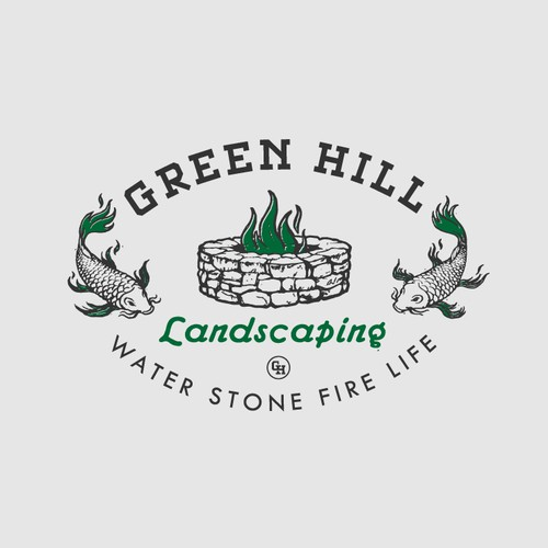 Koi design with the title 'Green Hill Landscaping Logo'