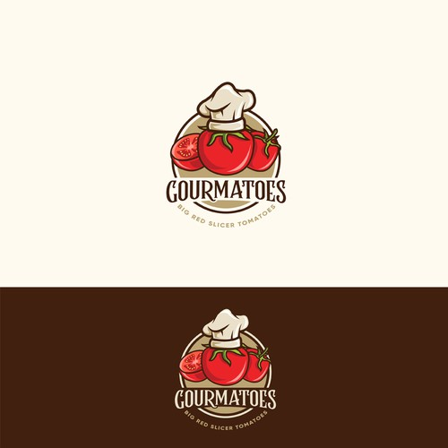 Food and beverage logo with the title 'Gourmatoes'