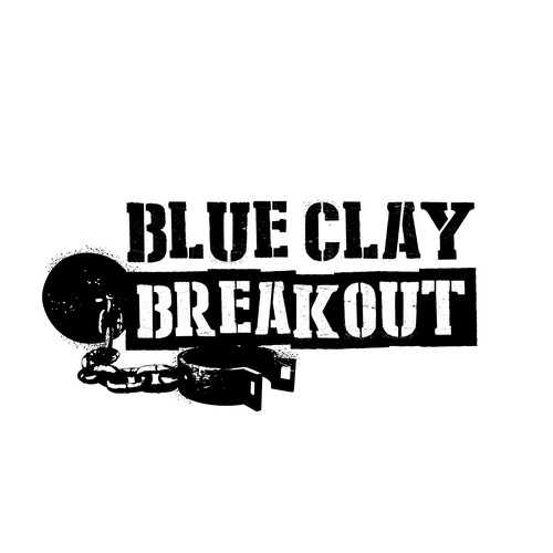 Stencil design with the title 'Logo design for Blue Clay Breakout'