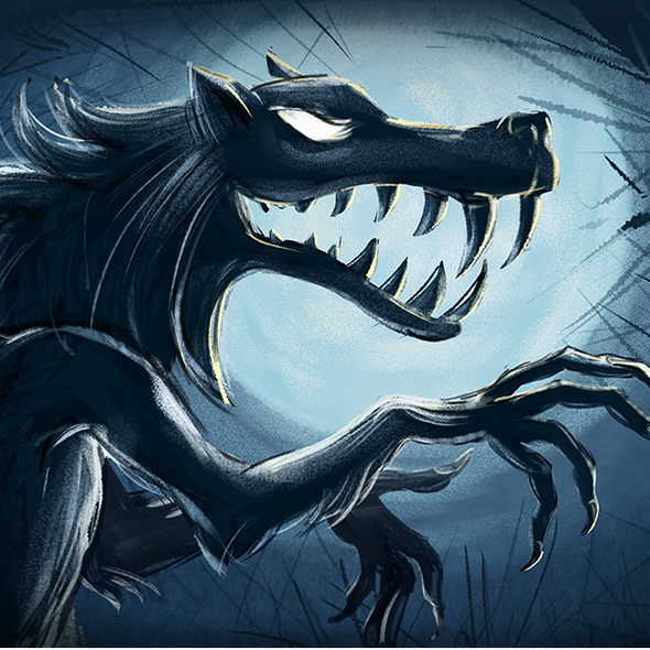 Fairy tale artwork with the title 'Hand drawn illustration for the Werewolf game'