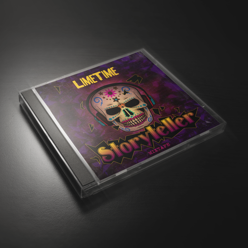 Mixed media design with the title 'LIMETIME_Storyteller_Album_Cover'