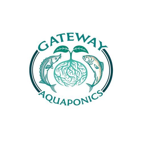 Hydroponics logo with the title 'GATEWAY AQUAPONICS'