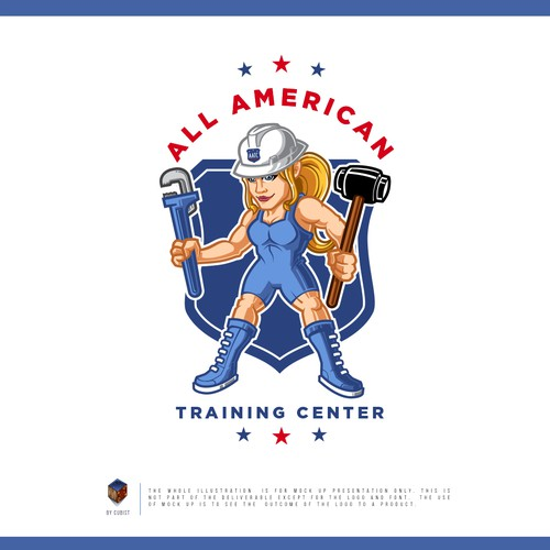 Wrestling design with the title 'All American Training Center (female)'