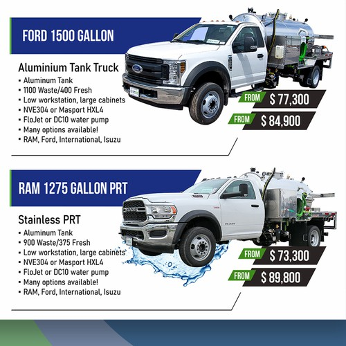 Truck design with the title 'Ads for Vacuum Trucks Company'