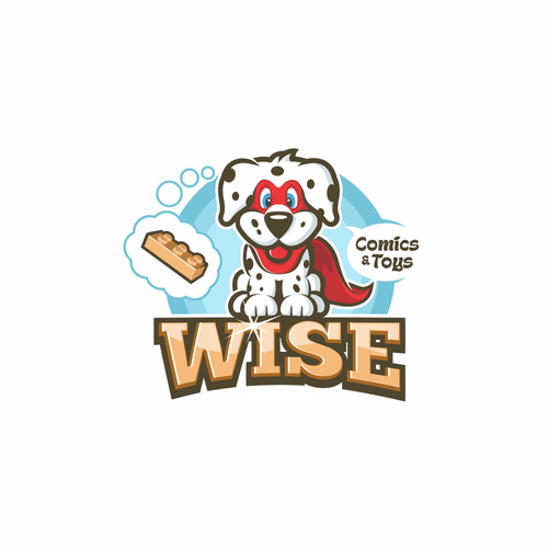 Puppy logo with the title 'Logo Design for Comics and Toys Store'