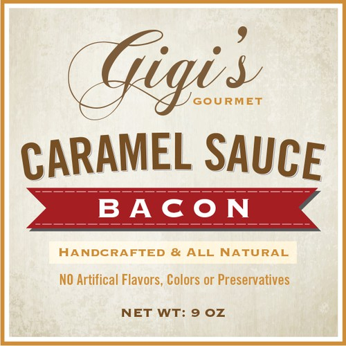 Handcrafted design with the title 'Product label and logo for Gigi's Gourmet'