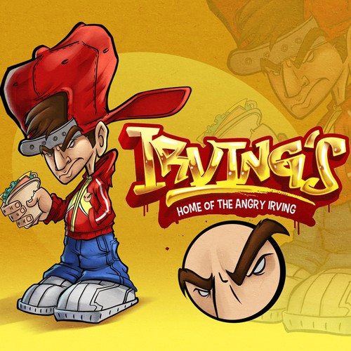 Street illustration with the title 'The angry Irving character design'