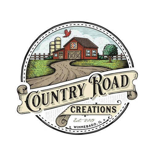 Apothecary design with the title 'Country Road Creations'