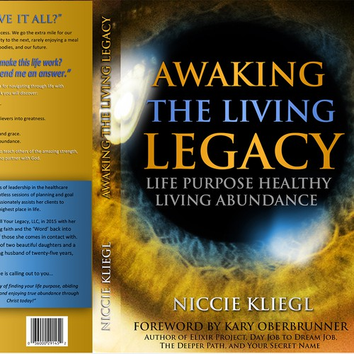 Legacy design with the title 'Book cover Awaking the living legacy'