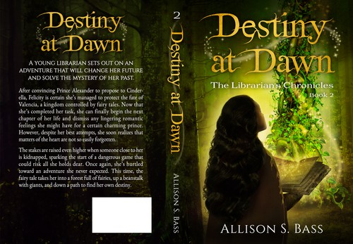 Library design with the title 'Destiny at Dawn – Book 2 in The Librarian's Chronicles series'