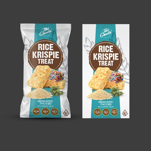Packet design with the title 'Medicated Rice Krispie Treat Label'