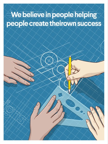 Tablet design with the title 'We believe in people helping people create their own success'