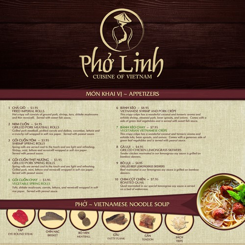 Vietnamese design with the title 'Authentic Vietnamese Restaurant Menu and Business Collaterals'