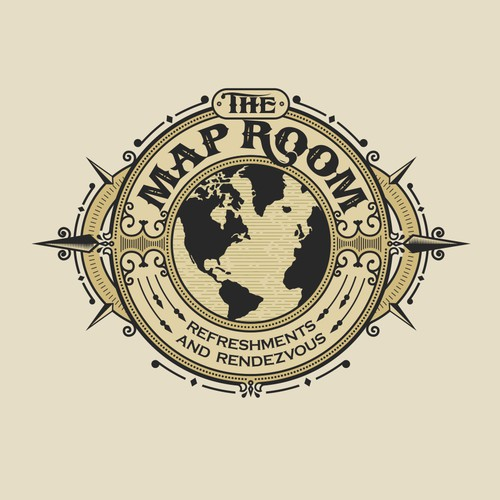 Route logo with the title 'The Map Room - restaurant & bar, burgers, salads, appetizers, craft cocktails, craft beer'