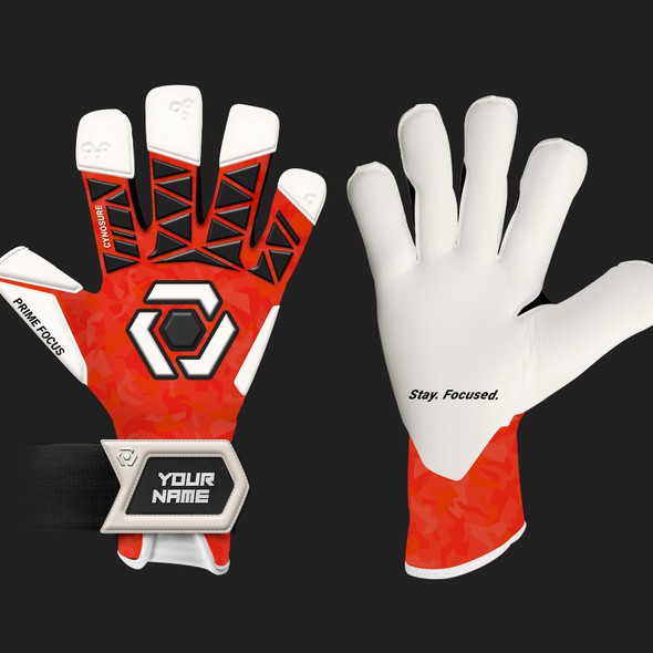 Glove design with the title 'Prime Focus Goalkeeper gloves 2020'