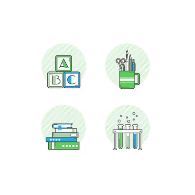 "Fun Icon set ""back to school"" for Analytics Academy"