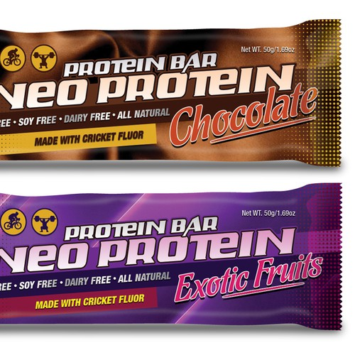 Protein bar packaging with the title 'Neo Protein Bars'
