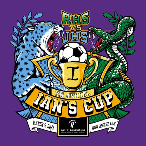 Snake t-shirt with the title 'Ian's Cup Soccer Shirt Design'
