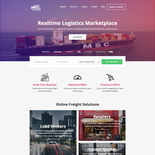 Marketplace website with the title 'Stunning Homepage Design for Freight Marketplace'