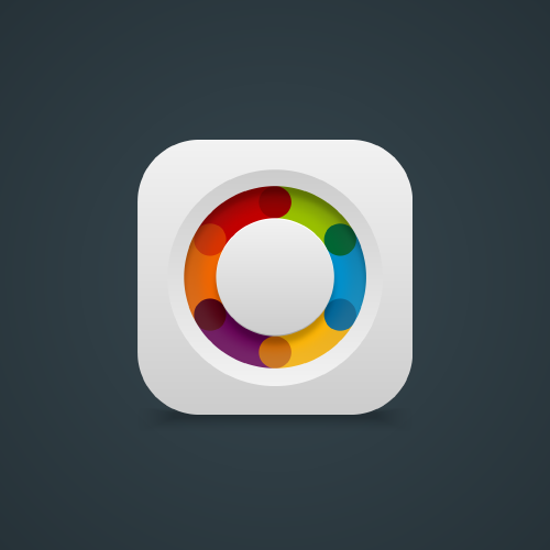 Multicolor design with the title 'Design app icon for a news app'
