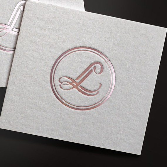 Rose gold design with the title 'Logo for a fashion brand'