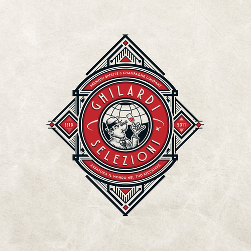 Art Deco logo with the title 'Ghilardi Selezioni (Champagne Company)'