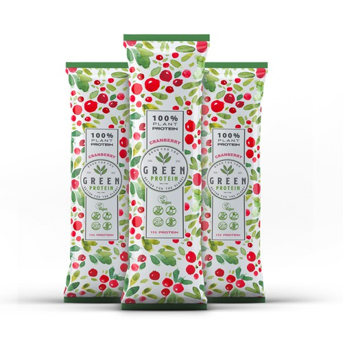 Organic packaging with the title 'Flavoured Pea Protein Sachet '