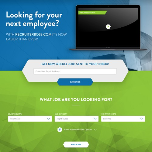 Hexagon design with the title 'Landing page design for Recruiterboss'