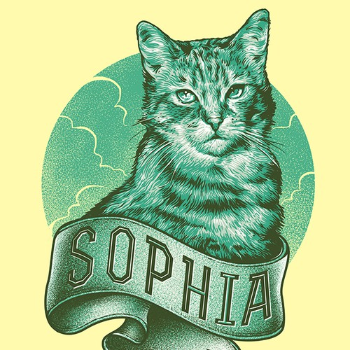 Artwork with the title 'Fun, hip illustration of a cat!'
