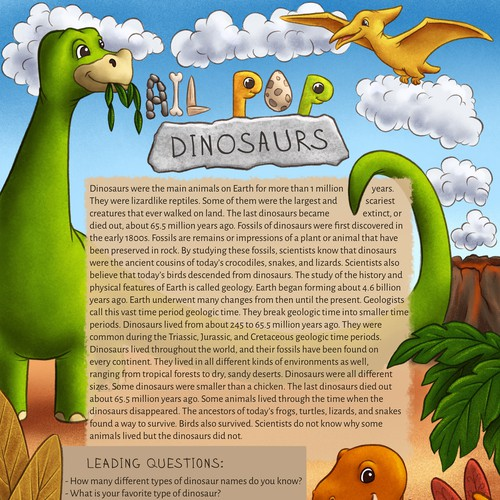 Dinosaur illustration with the title 'Design of a letter for a children's mailing list on the topic of dinosaurs from Mail Pop'