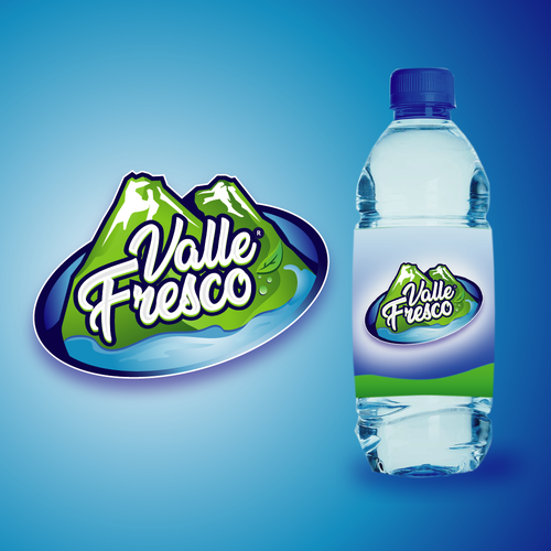 Mineral water design with the title 'Valle Fresco Logo - Mineral Water'