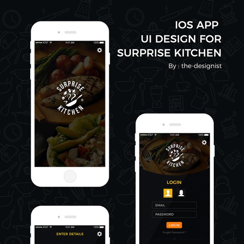 "Calculator design with the title 'iOS Application design for ""Surprise Kitchen""'"