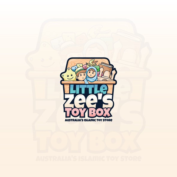 Hijab design with the title 'Little Zee's Toy Box'
