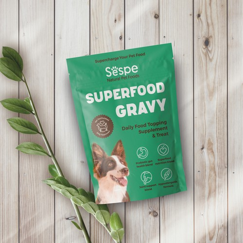 Superfood packaging with the title 'Package design for a dog superfood topping supplement and treat '