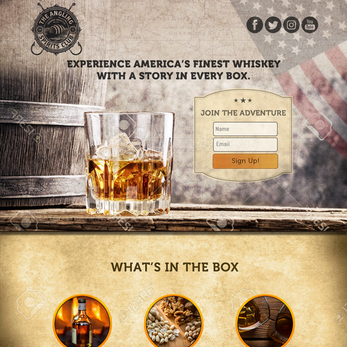 Subscription box design with the title 'Whiskey Monthly Subscription Box Landing Page'