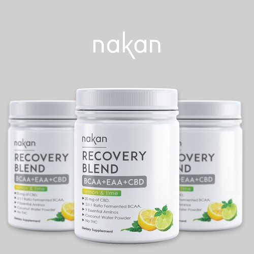 Pharmaceutical label with the title 'Label design for recovery blend-BCAA+EAA+CBD'