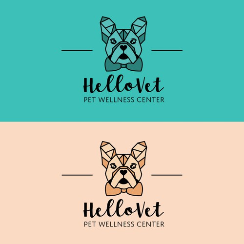 French bulldog logo with the title 'Hello Pet Care - Boutique, Hip, Modern'