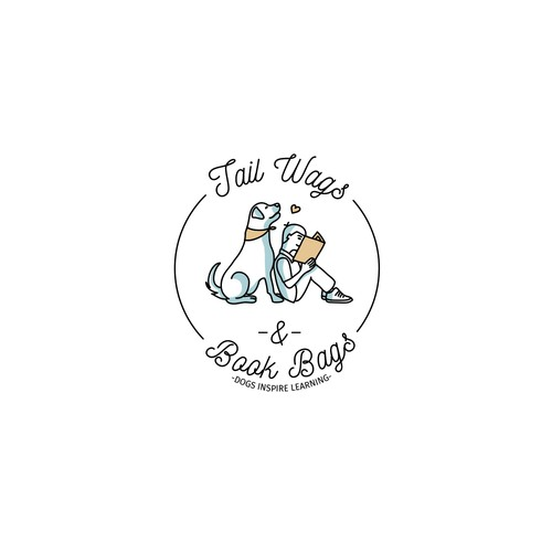 Nonprofit brand with the title 'Logo for Tail Wags & Book Bags'