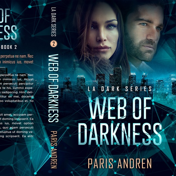 Dark book cover with the title 'Web of Darkness - Romantic suspense'